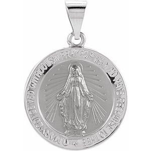 14K White 18 mm Hollow Round Miraculous Medal