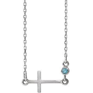 "14K White Aquamarine Sideways Accented Cross 16-18"" Necklace"