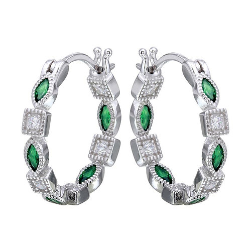 Green Cubic Zirconia Inner and Outer Sterling Silver Hoop Earrings