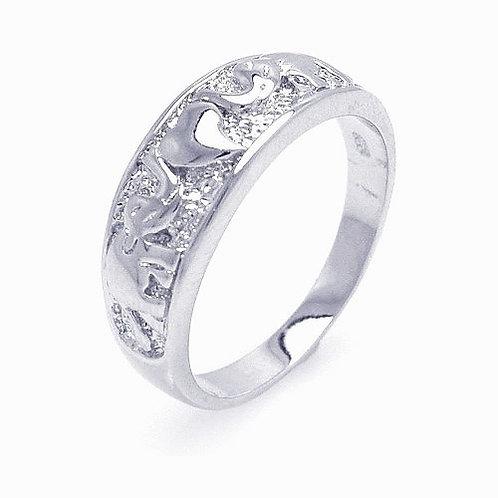 925 Rhodium Plated Elephant Heart Ring