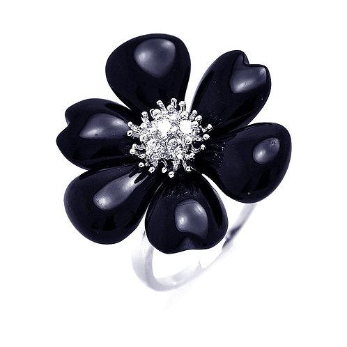 925 Rhodium Plated Black Onyx Clear CZ Flower Ring
