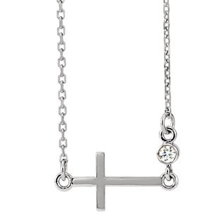 "Platinum .03 CTW Diamond Sideways Cross 16-18"" Necklace"