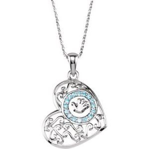 "Sterling Silver 1.5 mm Round Blue Cubic Zirconia Handprints 18"" Necklace"