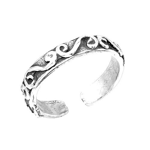 925 Calligraphy Lines Design Toe Ring