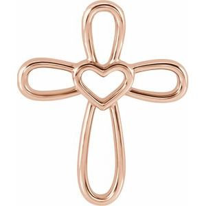 14K Rose Cross with Heart Pendant