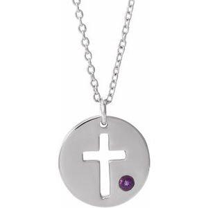 "Sterling Silver Imitation Amethyst Pierced Cross Disc 16-18"" Necklace"