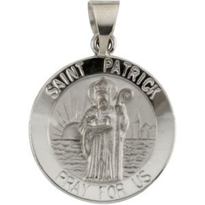 14K White 18 mm Round Hollow St. Patrick Medal