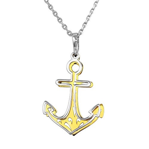 925 2 Toned Rhodium and Gold Plated Double Anchor Necklace