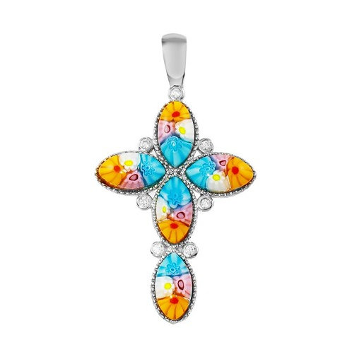 925 Rhodium Plated Cross Murano Glass With CZ Pendant206