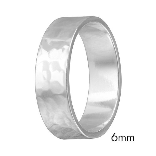 Sterling Silver Rhodium Plated Hand Hammered 6mm Wedding Band Flat Ring Band