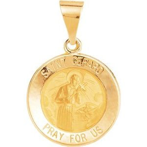 14K Yellow 15 mm Round Hollow St. Gerard Medal