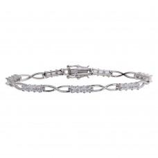 925 Rhodium Plated Infinity Link CZ Tennis Bracelet