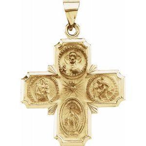 14K Yellow 25x25 mm Hollow Four-Way Cross Medal