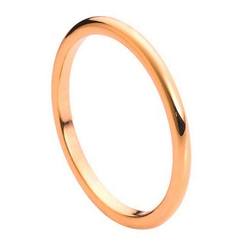 High Polish Rose Gold Plated Thin Band 2mm