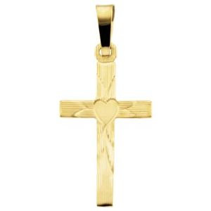 14K Yellow 17x11 mm Cross with Heart Pendant
