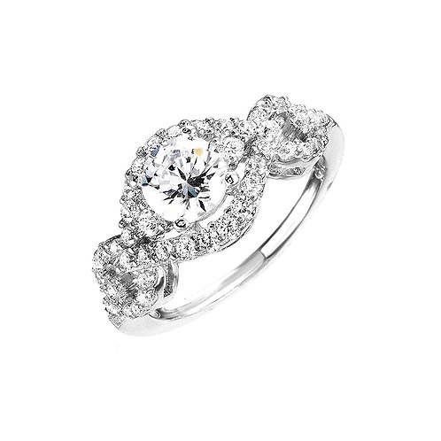 Round Center Cubic Zirconia Sterling Silver Bridal Ring