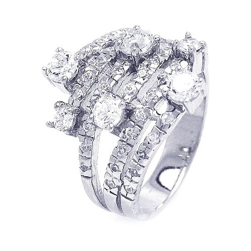 925 Rhodium Plated Multiple Sized Clear CZ Wrap Ring
