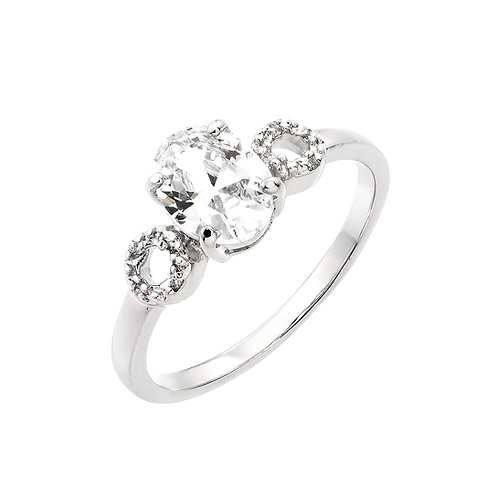 Oval Center Cubic Zirconia Sterling Silver Engagement Ring