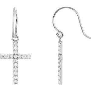 14K White 1/2 CTW Diamond Cross Earrings