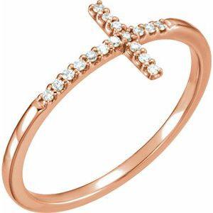 14K Rose .08 CTW Diamond Sideways Cross Ring