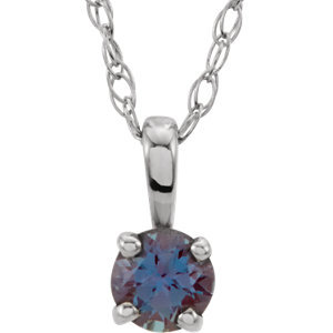"Sterling Silver Imitation Alexandrite ""June"" Birthstone 14"" Necklace"