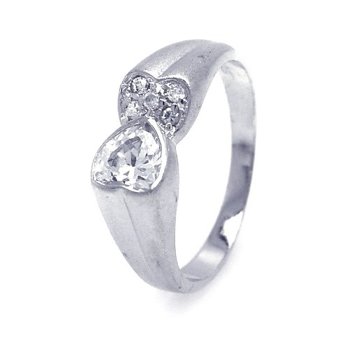 925 Rhodium Plated Clear CZ Double Heart Ends Ring