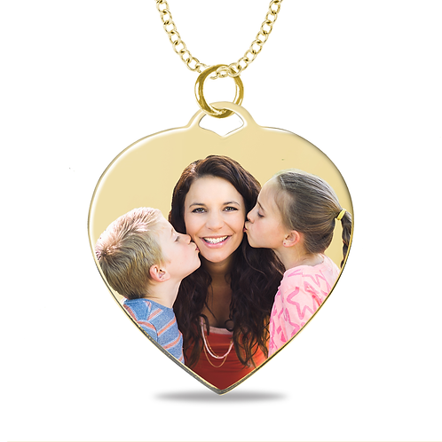 MEDIUM HEART LASER ENAMELED PENDANT