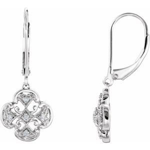 14K White .07 CTW Diamond Accented Lever Back Earrings