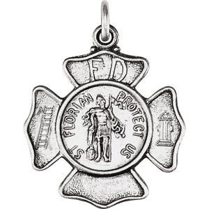 Sterling Silver 17 mm St. Florian Pendant