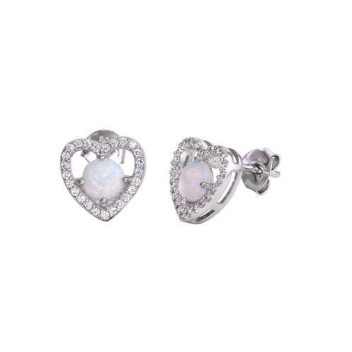 Opal and Cubic Zirconia Sterling Silver Heart Earrings