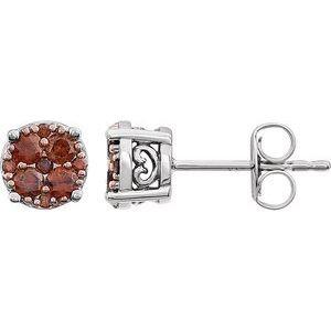14K White 3/8 CTW Brown Diamond Cluster Earrings