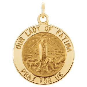14K Yellow 15 mm Round Our Lady of Fatima Medal