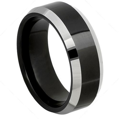 Black IP Plated Center High Polished Steel Color Beveled Edge - 8mm