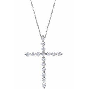 "14K White 1/3 CTW Diamond Cross 18"" Necklace"