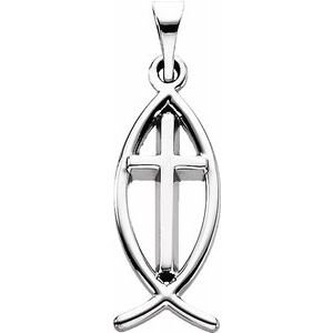 Sterling Silver 17x8 mm Fish Pendant with Cross