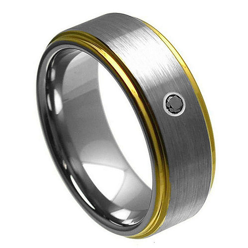 0.07ct Black Diamond Center Stone & Yellow Gold Plated Edge - 8mm