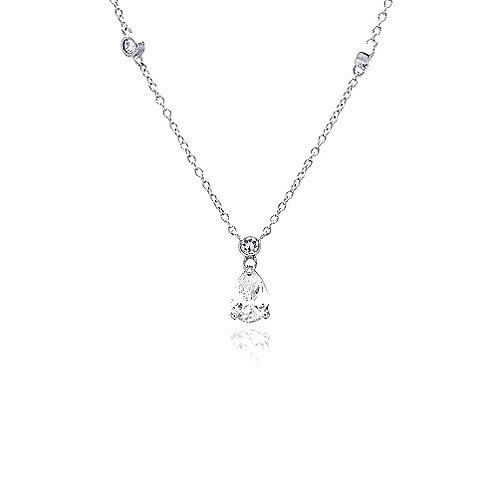 925 Clear CZ Rhodium Plated Teardrop Pendant Necklace