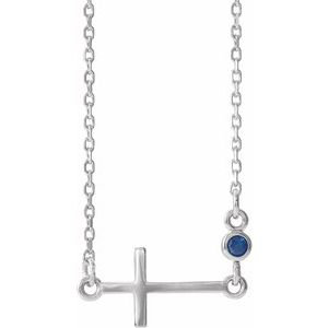 """14K White Chatham® Created Blue Sapphire Sideways Accented Cross 16-18"""" Necklace"""
