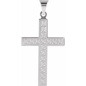 14K White 28x18 mm Geometric Cross Pendant