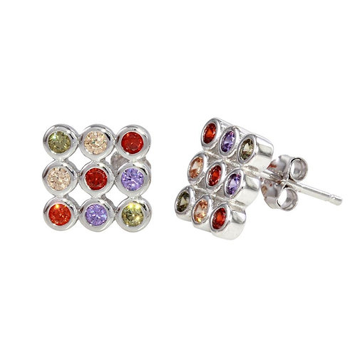 Multi-Colored CZ Sterling Silver Square Stud Earrings