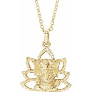 """14K Yellow Ganesha 16-18"""" Necklace"""