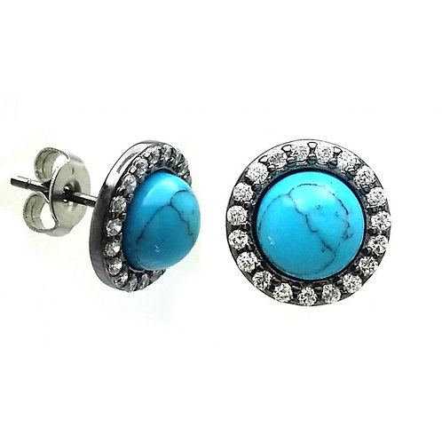 Turquoise Cubic Zirconia Sterling Silver Stud Earrings