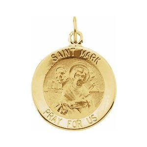 14K Yellow 15 mm Round St. Mark Medal