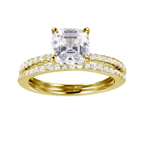 Cubic Zirconia Sterling Silver Gold Plated Bridal Ring
