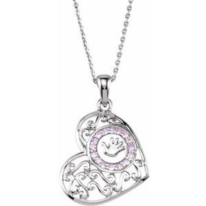 "Sterling Silver 1.5 mm Round Pink Cubic Zirconia Handprints 18"" Necklace"