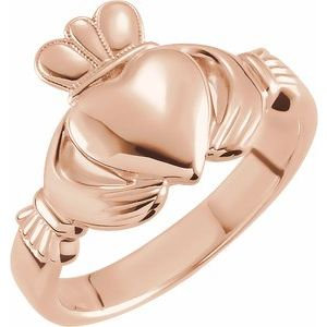 14K Rose 8.5 mm Claddagh Ring Size 6