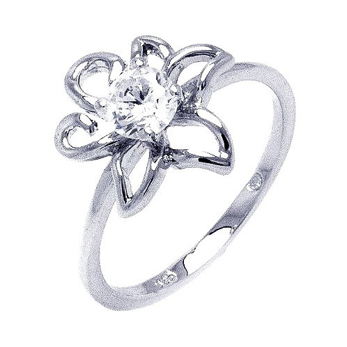 925 Rhodium Plated Clear Round Center CZ Flower Outline Ring