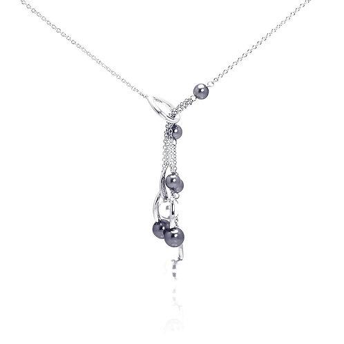 Black Pearls Sterling Silver Drop Adjustable Necklace Pendant