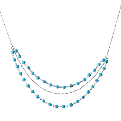 Turquoise Bead Sterling Silver Necklace