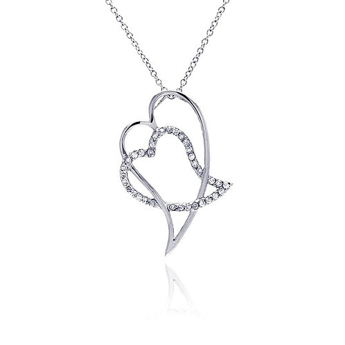 Double Heart White Cubic Zirconia Sterling Silver Pendant